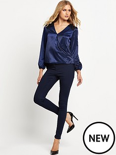 lipsy-lipsy-navy-wrap-satin-lace-blouse