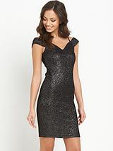 Black Bardot Strap Glitter Dress