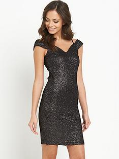 lipsy-black-bardot-strap-glitter-dress