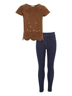 river-island-girls-lasernbspcut-suedette-top-and-dark-wash-denim-look-leggings-2-piece
