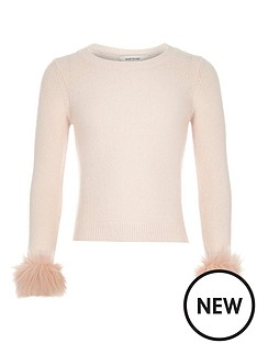 river-island-fur-cuff-fitted-jumper
