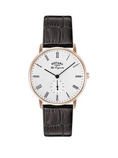 rotary-swiss-white-dial-rose-gold-plated-bezel-brown-leather-strap-mens-watch
