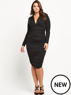 ax-paris-curve-plunge-neck-midi-dress-with-long-sleeves
