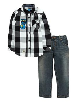 ladybird-boys-check-shirt-and-jeans-set
