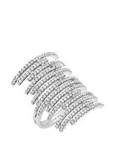 tresor-paris-tresor-paris-sterling-silver-white-crystal-multi-row-statement-ring
