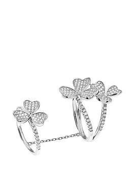 Tresor Paris Tresor Paris Sterling Silver White Crystal Flower Double Ring