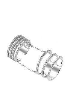 tresor-paris-tresor-paris-sterling-silver-white-crystal-multi-row-double-ring