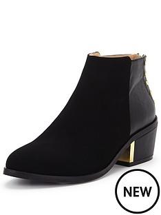 miss-selfridge-stud-back-low-heel-boots
