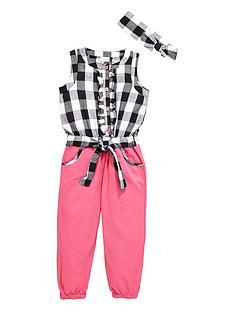 ladybird-girls-gingham-chambray-jumpsuit-with-headband-2-piece