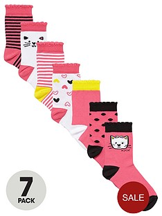 ladybird-girls-cute-cat-socks-7-pack
