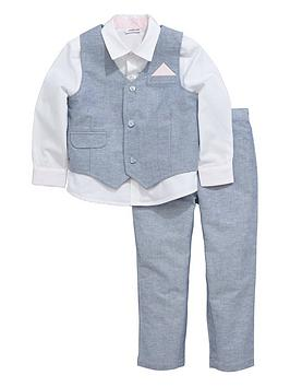 ladybird-boys-linen-waistcoat-shirt-and-trouser-suit-with-contrast-trims-3-piece-0-months-7-years