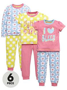 ladybird-girls-pretty-floral-pyjamas-set-6-piece