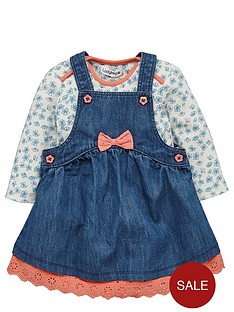 ladybird-baby-girls-denim-pinafore-and-floral-bodysuit-set-2-piece