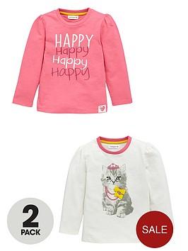 ladybird-girls-happy-cat-long-sleeve-tops-2-pack
