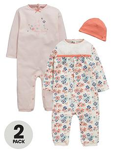 ladybird-baby-girls-floral-and-bunny-rompers-with-hat-3-piece