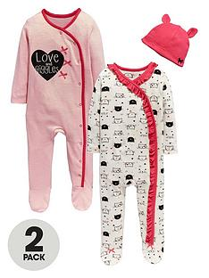ladybird-baby-girls-kittens-and-hearts-sleepsuitsnbspwith-hat-3-piece