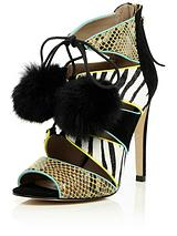 Caged Tie Up Zebra Mix Colour Block Sandal