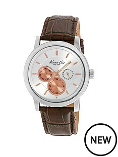 kenneth-cole-kenneth-cole-multifunction-silver-dial-stainless-steel-case-with-brown-leather-strap-mens-watch