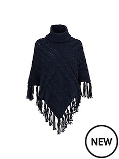 warehouse-cable-knit-poncho