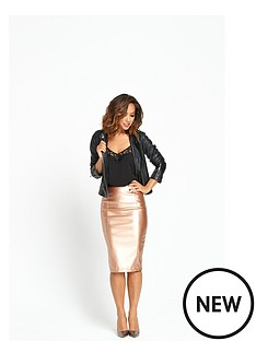 myleene-klass-myleene-rose-gold-metalic-pencil-skirt