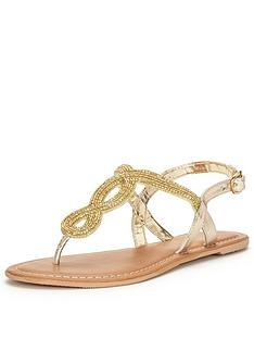 v-by-very-arundal-embellished-flat-toepost-sandal-gold