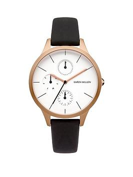 karen-millen-karen-millen-multifunction-white-dial-brown-leather-strap-ladies-watch