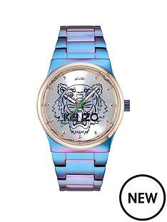 kenzo-kenzo-tiger-head-silver-dial-stainless-steel-rainbow-bracelet-ladies-watch