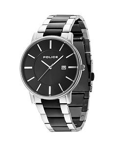 police-london-black-dial-two-tone-bracelet-mens-watch