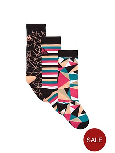 adidas-younger-girls-patterned-socks-3-pack