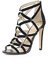 Caged Sandals With Gold Trim