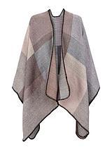 Colour Block Blanket Stitch Detail Cape