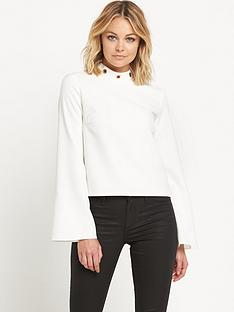 miss-selfridge-high-neck-eyelet-topnbsp