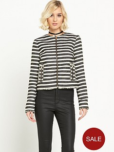 miss-selfridge-miss-selfridge-stripe-boucle-jacket