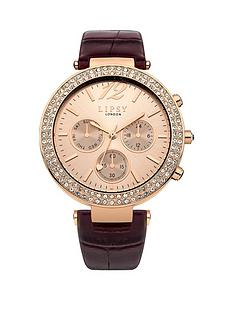 lipsy-multi-look-champagne-dial-berry-pu-strap-ladies-watch