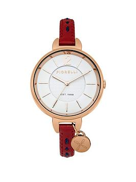 Fiorelli White Dial Red Leather Strap Ladies Watch