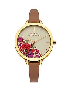 johnny-loves-rosie-floral-gold-dial-tan-pu-strap-ladies-watch