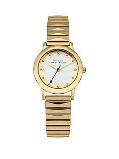 johnny-loves-rosie-johnny-loves-rosie-white-dial-gold-tone-metal-expander-ladies-watch