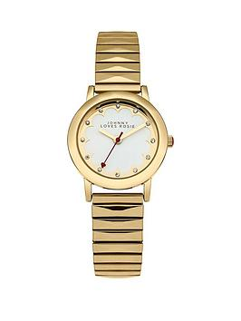 johnny-loves-rosie-johnny-loves-rosie-white-dial-gold-tone-metal-expander-ladies-watch