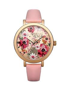 oasis-floral-dial-with-pink-pu-strap-ladies-watch