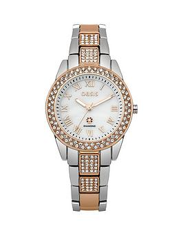 Oasis White Dial With Crystals Two Tone Bracelet Ladies Watch