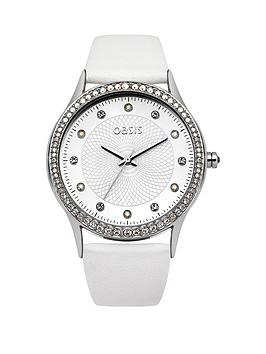 Oasis White Dial With Crystals White PU Strap Ladies Watch