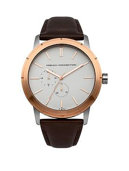French Connection Clarke White Dial With Brown Leather Strap Mens Watch