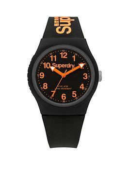 Superdry Superdry Urban Black And Orange Detail Dial Black Logo Printed  ... Picture