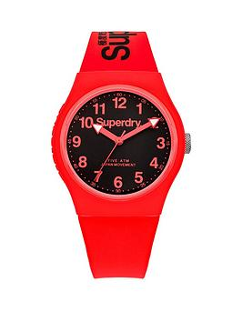 Superdry Urban Navy Blue Dial With Red Silicone Strap Unisex Watch