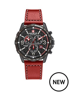 swiss-military-chronograph-black-dial-ace-red-leather-strap-mens-watch