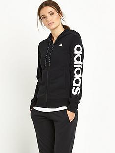 adidas-essentials-linear-zip-through-hooded-top