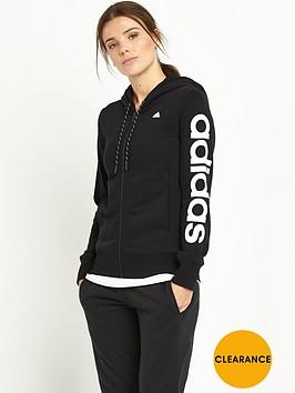 adidas-essentials-linear-zip-through-hooded-top