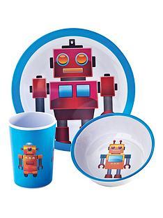 viners-robots-3-piece-kids-melamine-dinner-set
