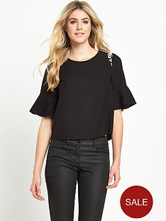 v-by-very-fluted-sleeve-embellished-top