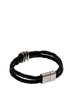 premier-league-football-stainless-steel-and-black-leather-crest-bracelet-with-choice-of-teams